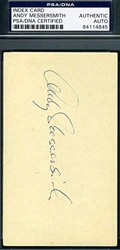 ANDY MESSERSMITH PSA DNA COA Autograph 3x5 Signed Index Card