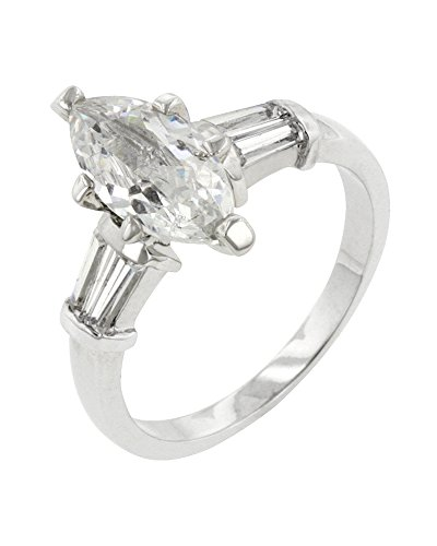 Genuine Rhodium Plated Engagement Ring with Marquise Cut Center CZ and Shouldered Baguettes Size 8