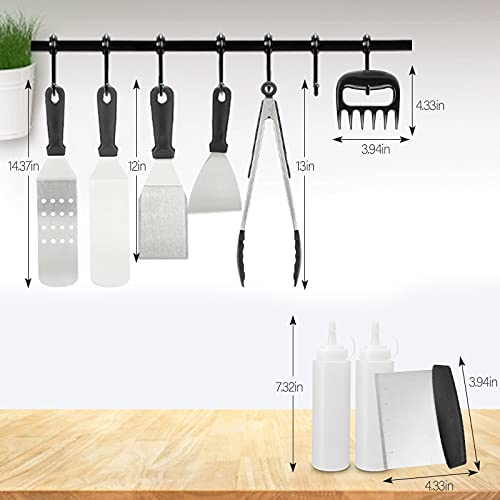 Zeemuuloo Griddle Accessories Kit, 10 PCS Flat Top Grill Accessories with Spatula, Scraper, Tongs, Grill Gloves, Meat Claws, Bottles, Pouch Grilling Gift for Men Women Outdoor BBQ, Teppanyaki, Camping