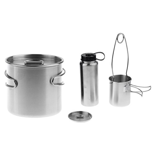 Baoblaze Outdoor 500ml Cup Pot Bowl Backpacking 750ml Travel Mugs 1L Water Bottle with Hanger Hook Mouth Spreader ()