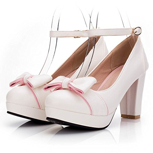 TAOFFEN Women Fashion Block High Heel Pumps Bowknot White CaKJKFnUx