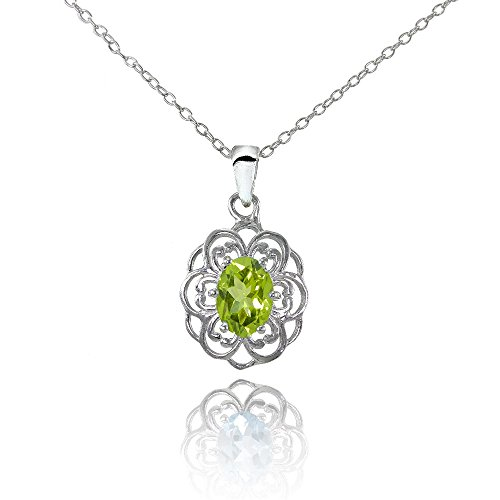 (Ice Gems Sterling Silver Peridot Oval Filigree Flower Necklace)