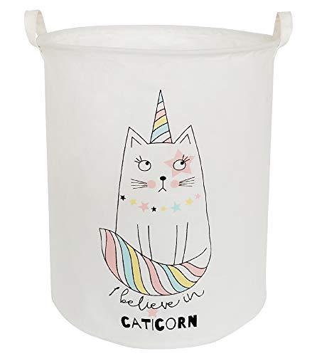 BOOHIT Storage Baskets,Canvas Fabric Laundry Hamper-Collapsible Storage Bin with Handles,Toy Organizer Bin for Kid's Room,Office,Nursery Hamper, Home Decor (Cartoon cat) (Laundry Hamper Cat)