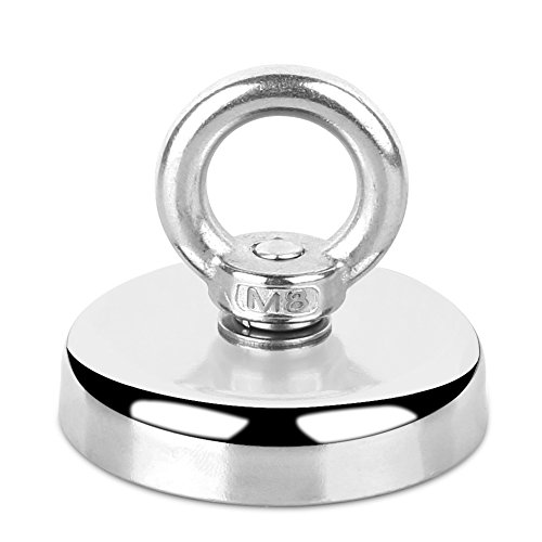 3' C/c Rope Pull - Round Neodymium Magnet with Countersunk Hole and Eyebolt 255 LBS(115 KG) Pulling Force Rare Earth Magnet with Countersunk Hole Eyebolt Diameter 2.36 INCH(60mm) for Retrieving in River and Magnetic Fi