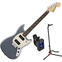 Fender 0144040581 Mustang 90 RW Silver Electric Guitar w/ Stand and Tuner