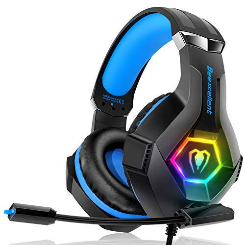 Gaming Headset Stereo Surround Sound Gaming Headphones with Breathing RGB Light & Adjustable Mic for PS4 PC Xbox One(S/X…