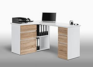 oak contemporary corner computer matelpro bureau with storage sonoma blanc nayade. Black Bedroom Furniture Sets. Home Design Ideas