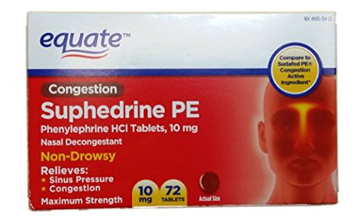 Equate Nasal Decongestant suphedrine PE Phenylephrine HCl 10mg 72ct Compare to Sudafed PE