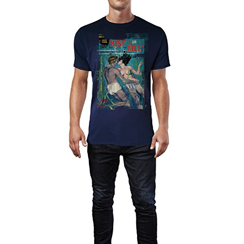 SINUS ART® Kiss or Kill Herren T-Shirts stilvolles dunkelblaues Navy Fun Shirt mit tollen Aufdruck