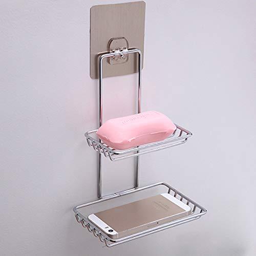 Holder Towel - Self Adhesive Stainless Steel Soap Dish Storage Holder Bathroom Kitchen Wall Mount Sponge Draining Hanger Towel Hooks
