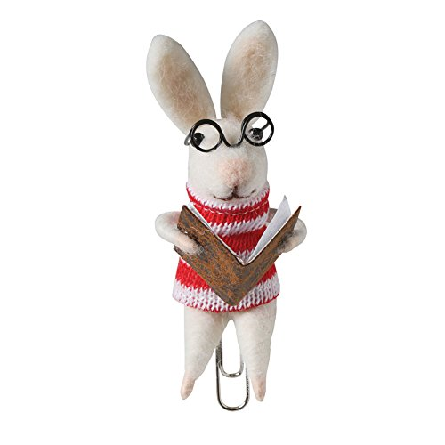 (Felted Wool Bookmark - Clip On Animal Reading a Book, Rabbit in Sweater)
