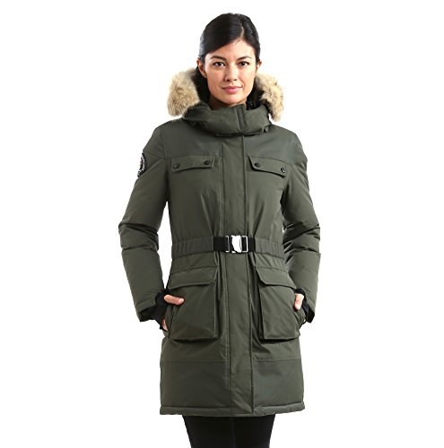Triple F.A.T. Goose Arkona Womens Hooded Arctic Parka With Real Coyote Fur (Medium, Olive) by Triple F.A.T. Goose