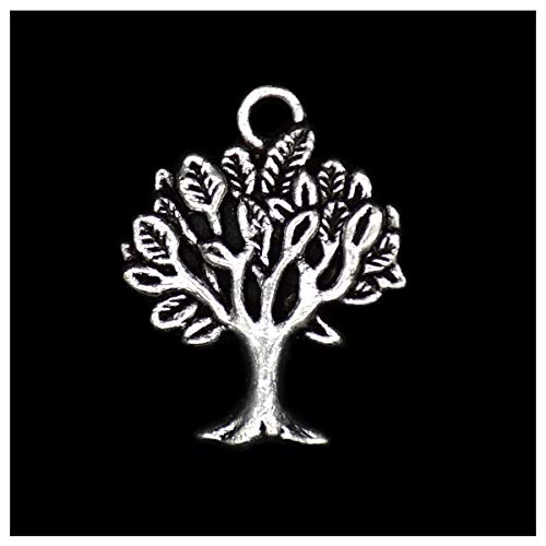 (Pack of 80 Tree of Life Charms Pendants Silver Craft Supplies for Jewelry Making Tibetan Accessories for Bracelets Necklace DIY)