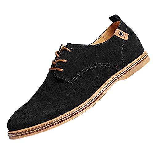 Gleader NUEVOS zapatos de gamuza de cuero de estilo europeo oxfords de los hombres casuales Negro(tamano 48)