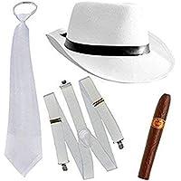 thematys® Al Capone Mafia Gangster Chapeau + Cravate + Bretelles + Cigare - 20 Costume Set pour Les Femmes et Les Hommes - Parfait pour Le Carnaval (Blanc)