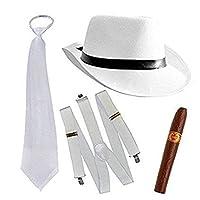 thematys Al Capone Mafia Gangster Hut + Krawatte + Hosenträger + Zigarre - 20er Jahre Kostüm-Set für Damen & Herren - perfekt für Fasching & Karneval (Weiß)