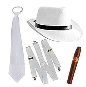 Al Capone Mafia Gangster Gorra + Lazo + Tirantes + cigarro - 20s Disfraz para Mujer y Hombre Carnaval (Blanco)