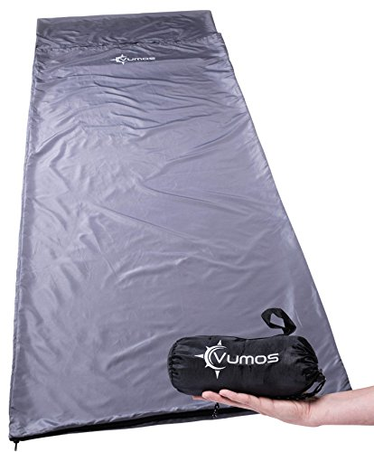 Vumos Sleeping Bag Liner and Camping Sheet - Silk Like Material for Travel - Has Full Length Zipper - Gray
