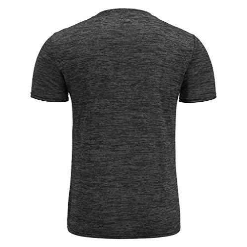 Winsummer Mens Casual Slim Fit Basic Henley Short Sleeve T-Shirt Lightweight V Neck Muscle Tops Black by Winsummer (Image #3)
