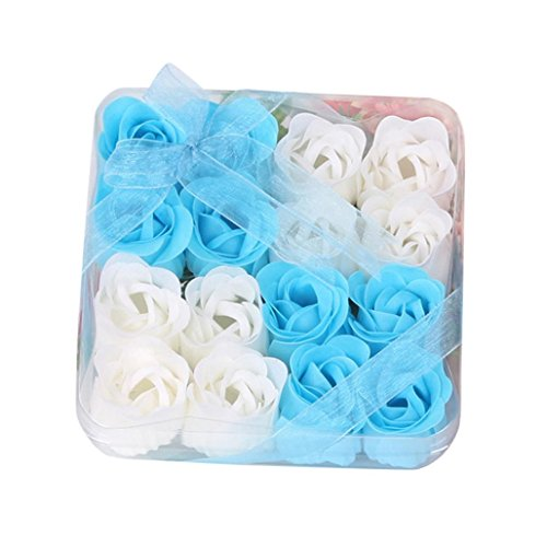 12 Scented Bath Soap Rose Flower, Plant Essential Oil Soap (Blue) - 7