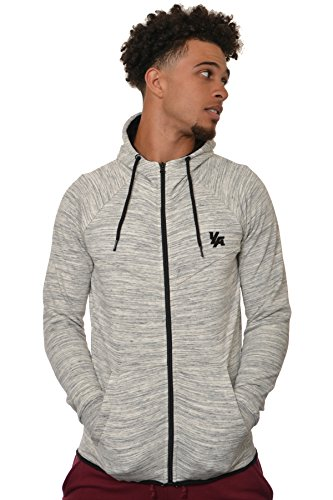 YoungLA Men's Cotton French Terry Tech Fitted Hoodie Zip-up Running Bodybuilding Long Sleeve 505 Marble (Terry Cotton Hoodie Jacket)