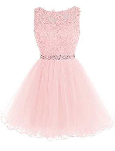 8eb94b375e8d Tideclothes ALAGIRLS Short Beaded Prom Dress Tulle Applique Homecoming Dress