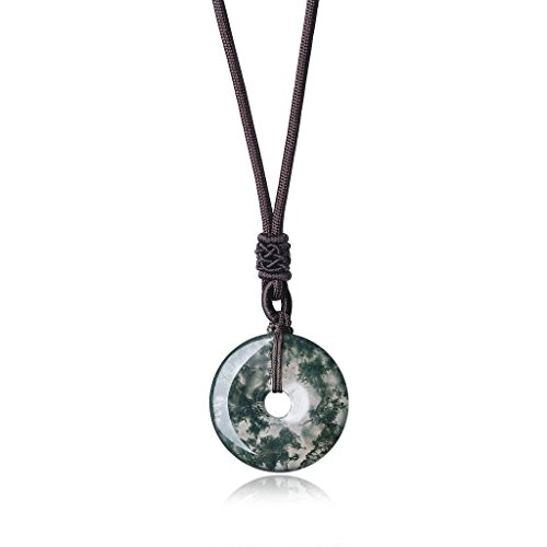 Mens Agate (AmorWing Healing Stones Moss Agate Round Donut Crystals Pendant Necklace)