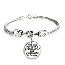 Love between a Grandmother and Granddaughter is Forever Bracelet Family Jewelry Christmas Gift