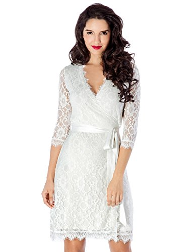 Grapent Women's White Crochet Lace 3/4 Sleeves Midi Wrap Dress White Lining US 16