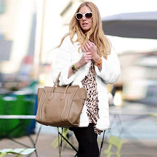 Fourrure de En Zhrui Parka D'Hiver couleur Petit Vêtements Blanc2 Taille Synthétique Pour Dessus Femmes 8xBwaq5T