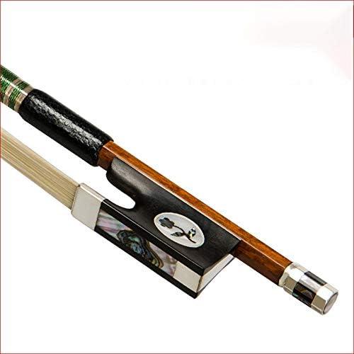 バイオリン弓 4/4フィドルボウ楽器ヘームーポールバイオリンのフルサイズエボニーフロッグ耐久性 初心者向け (色 : 褐色, Size : 4/4)