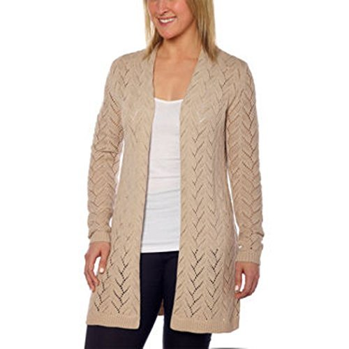 Leo & Nicole Women's Cable Yoke Open Cardigan Sweater, Linen, XL