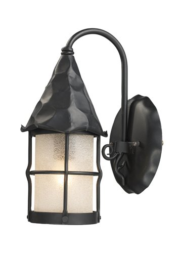 Elk Lighting 381-BK Rustica 1-Light Outdoor Sconce In Matte Black With Scavo - Tiffany Stores Outlet Location