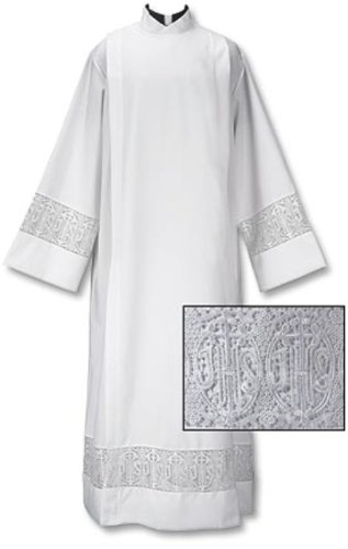 - Latin Cross and IHS Lace Front Wrap Alb