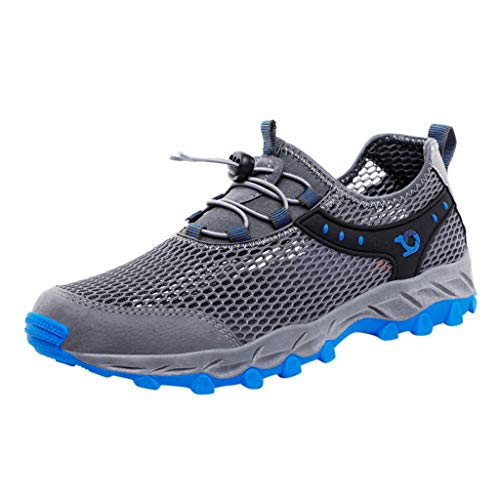 Men's Knit Running Shoes Water Quick Drying Slip On Water Shoes for Beach Water Sport Shoes Fashion Sneakers by Lowprofile Gray