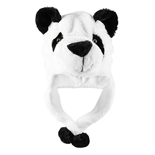 Panda Bear Plush Animal Winter Ski Hat Beanie Aviator Style Winter (Short) White