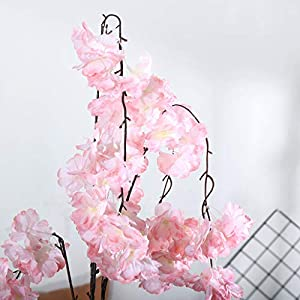 CANAFA-Home & Kitchen Artificial Flowers Artificial Silk Fake Flowers Cherry Blossom Floral Wedding Bouquet Party Decor 3