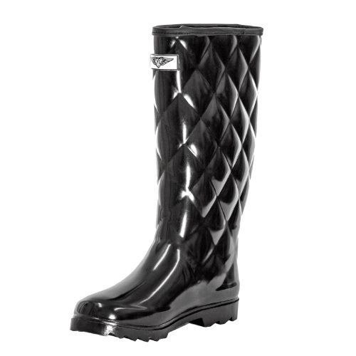 Women Quilted Style Rubber Rain Boots, Black, 8