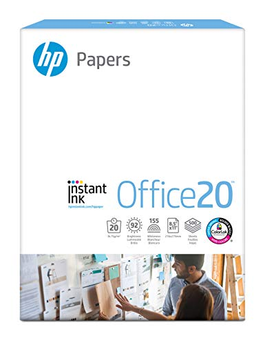 HP Paper Printer Paper, Copy Paper Instant Ink Office20, 8.5 x 11 Paper, Letter Size, 20lb Paper, 92 Bright, 1 Ream / 500 Sheets Acid Free Paper (112150R)