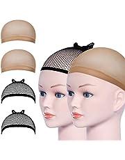 URAQT Pruik Cap, pruik kapjes, caps, nylon, haarnet, rekbaar, zwart, mesh en neutraal nek, beige, elastisch net pruikennet