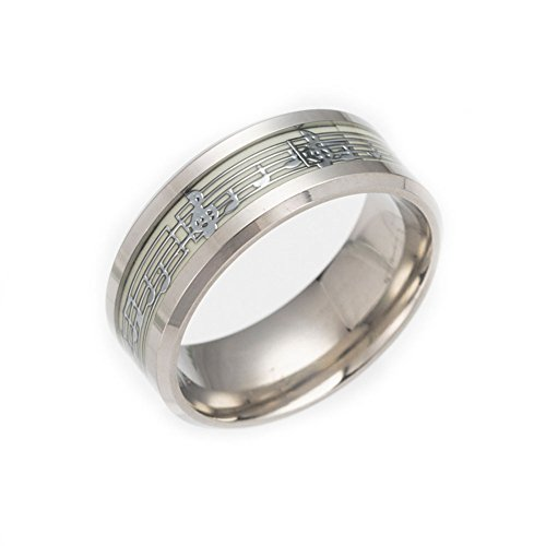 JAJAFOOK Men 8mm Wide Luminous Effect Stainless Steel Music Piano Ring Glow in The Dark(Silver -