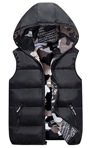 Happy Cherry Toddler Girls Warm Vest Camouflage Reversible Solid Color Unisex Toddlers Winter Padded Puffy Waistcoat 3-4T Black