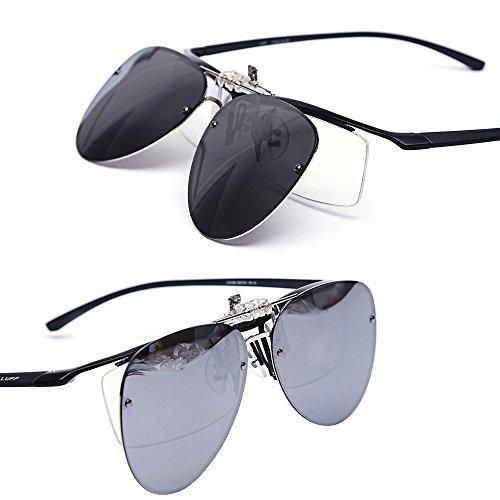 en sol Senderismo unisex puede apto Pesca para Glare ser LUFF Gafas Proteccion UV la polarización volteado de Gray clip anti conducir gafas de sol AxEqXB