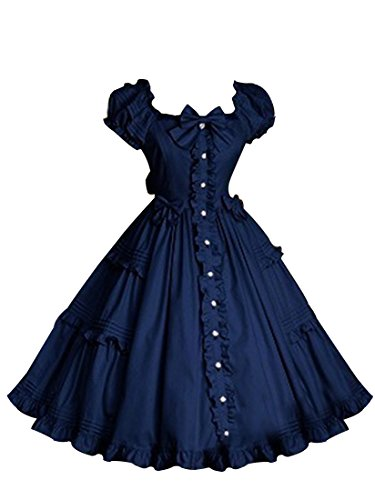 Court Maid Costumes (Nuoqi Womens Lolita Dress Court Princess Falbala Princess Skirts Navy Blue CC32A-M)