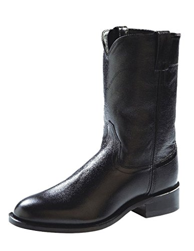 Old West Men's Leather Roper Cowboy Boot Black 11.5 D(M) US