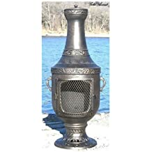 Blue Rooster Venetian Style Wood Burning Outdoor Metal Chiminea Fireplace Gold Accent Color