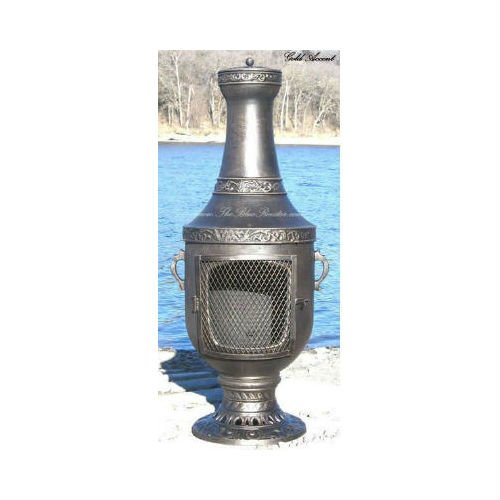 Blue Rooster Venetian Style Wood Burning Outdoor Metal Chiminea Fireplace Gold Accent Color by Blue Rooster