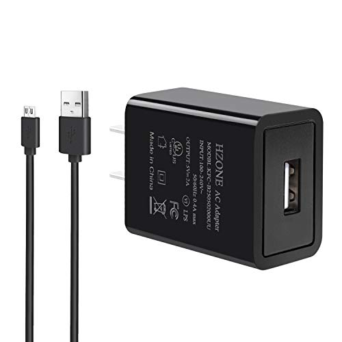 "HZONE Kindle Fire Fast Charger, [UL Listed] HZONE AC Adapter 2A Rapid Charger with 5.0 Ft Micro-USB Cable for Kindle Fire HD 7 8 10 Tablet, HDX 6"" 7"" 8.9"" 9.7"", Kids Edition and Phone, Black …"