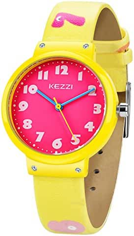 Dovoda Watch for Girls Easy Reading Times Teacher Red Dial Yellow Leather Kids Watches