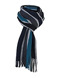 Mens Luxury Italian Inspired Warm Knitted Striped Winter Scarf (One Size) (Turquoise Grey)